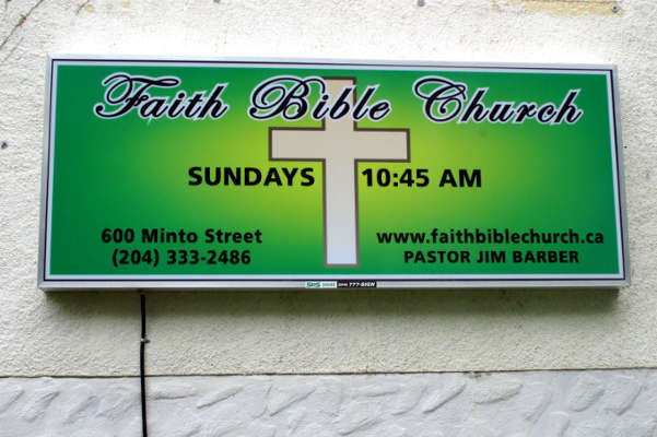 Faith Bible Church Sign on the front of the Church
